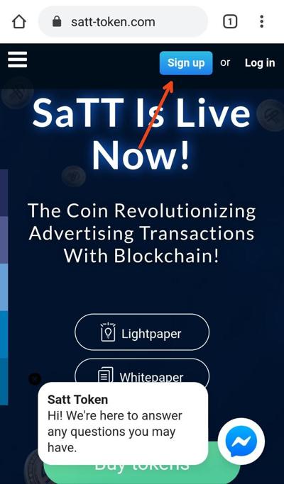 Sign up SaTT Wallet