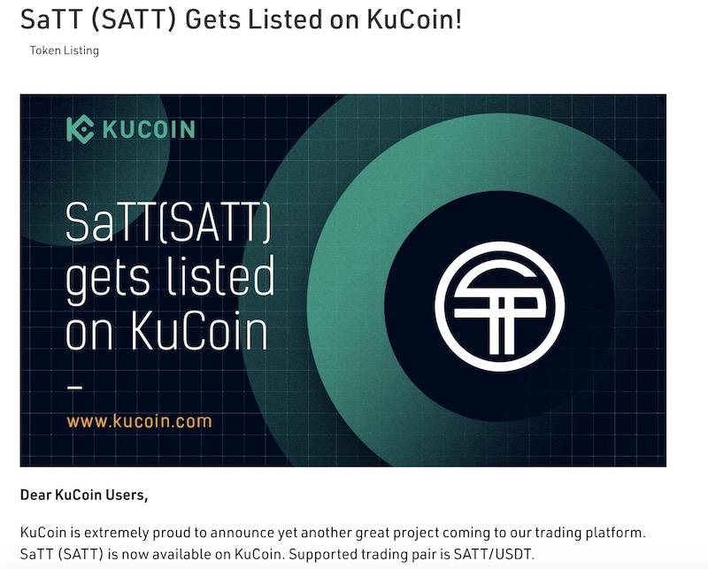 KuCoin Lists SaTT Token